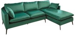 Casa Padrino velvet corner sofa emerald green / black 260 x 160 x H. 93 cm - Living room sofa with pillows in retro style - Living room furniture