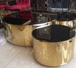 Casa Padrino luxury coffee table set gold / black - 3 Living room tables with glass top - Luxury living room furniture