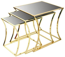 Casa Padrino luxury side table set gold / black - 3 Metal tables with glass top - Luxury Furniture
