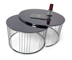 Casa Padrino luxury coffee table set silver / black - 2 Round living room tables with glass top - Living room furniture - Luxury Collection