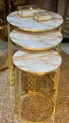 Casa Padrino luxury side table set gold / white-beige - 3 Round metal tables with marble top - Luxury living room furniture