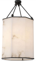 Casa Padrino luxury ceiling lamp bronze / alabaster 49 x 49 x H. 95 cm - Noble metal ceiling lantern with alabaster lampshade - Luxury Quality