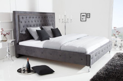Casa Padrino Chesterfield microfibre double bed antique gray / silver 190 x 215 x H. 130 cm - Solid wood bed with headboard - Chesterfield bedroom furniture