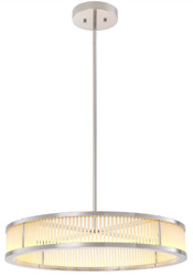 Casa Padrino luxury LED chandelier silver / white Ø 70 x H. 15 cm - Modern round dimmable chandelier - Luxury Quality