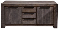 Casa Padrino country style sideboard gray 175 x 50 x H. 76 cm - Solid wood cabinet with 2 doors and 3 drawers - Living room furniture