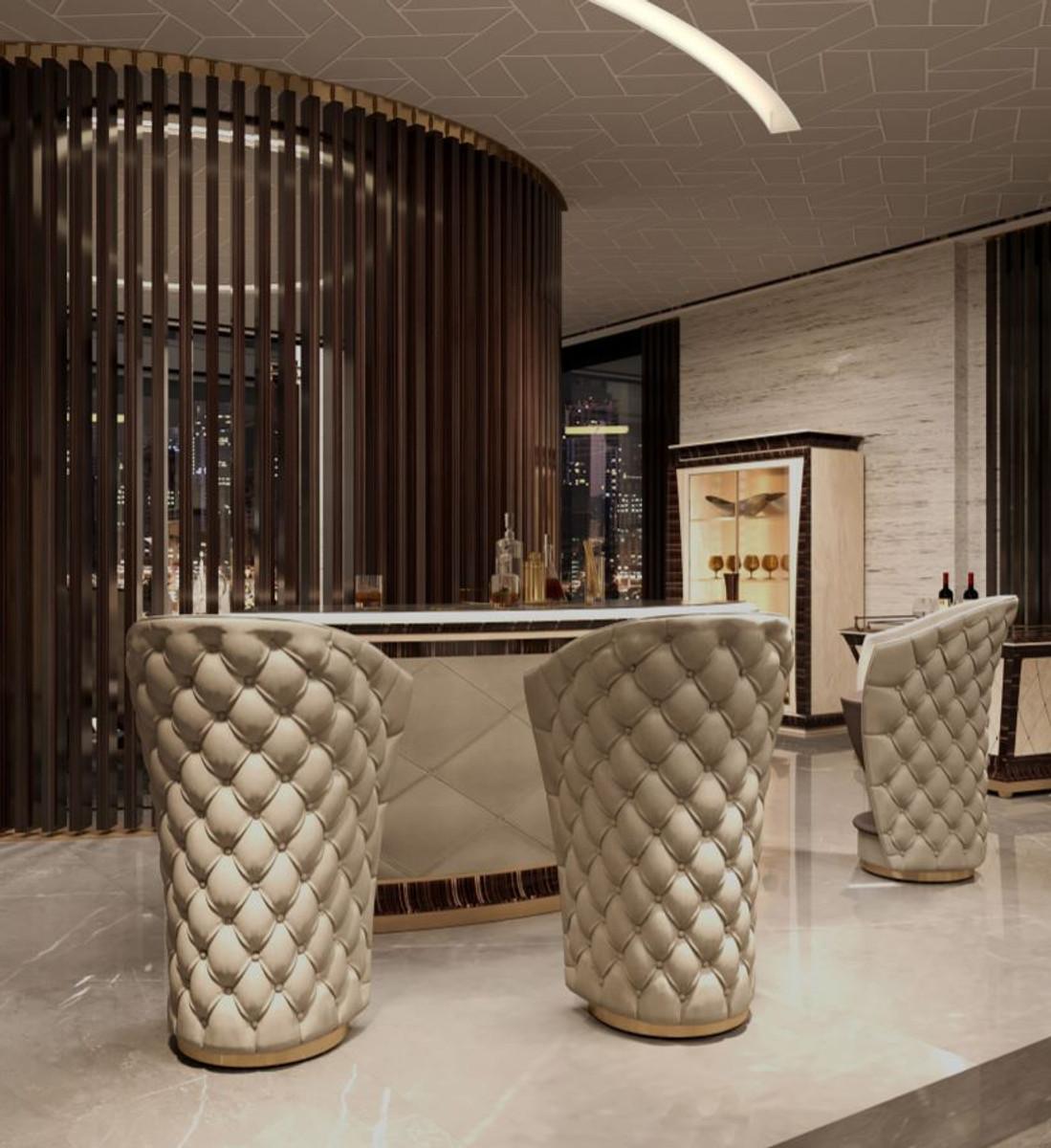 Casa Padrino Sedia Da Bar Chesterfield Di Lusso In Vera Pelle Beige Marrone Oro 66 X