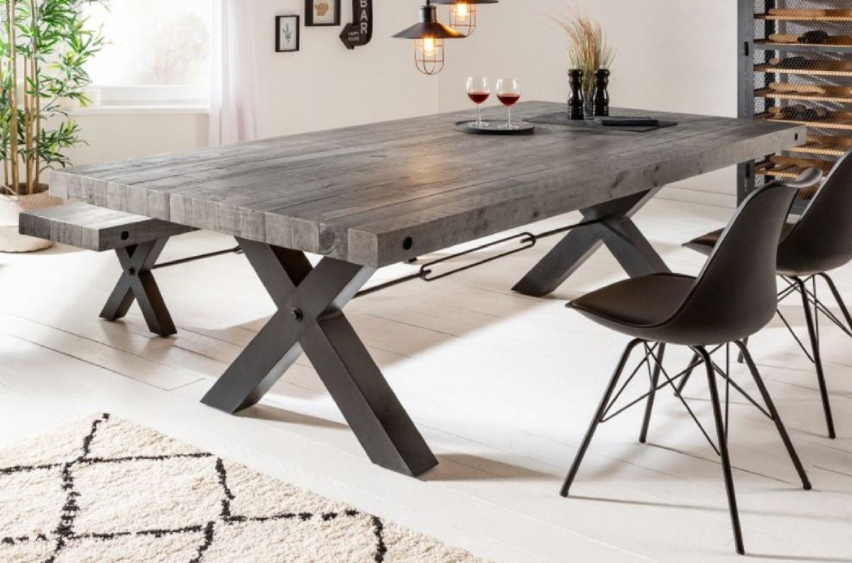 Casa Padrino Industrial Design Dining Table Gray Black 200 X 100 X H 76 Cm Solid Wood Kitchen Table In Industrial Design Dining Room Furniture
