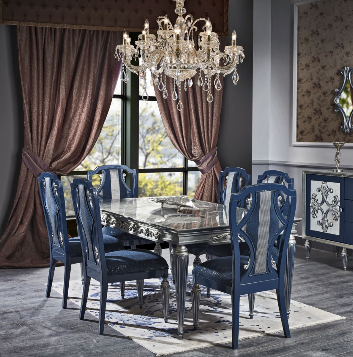 Casa Padrino Luxury Baroque Dining Room Chair Set Blue Silver 54 X 53 X H 109 Cm Noble Kitchen Chairs Set Of 6 Baroque Dining Room Furniture