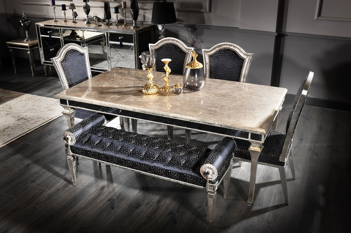 Casa Padrino Luxury Baroque Dining Table Antique Silver 200 X 112 X H 85 Cm Solid Wood Kitchen Table With Mirror Glass Noble Dining Room Furniture In Baroque Style