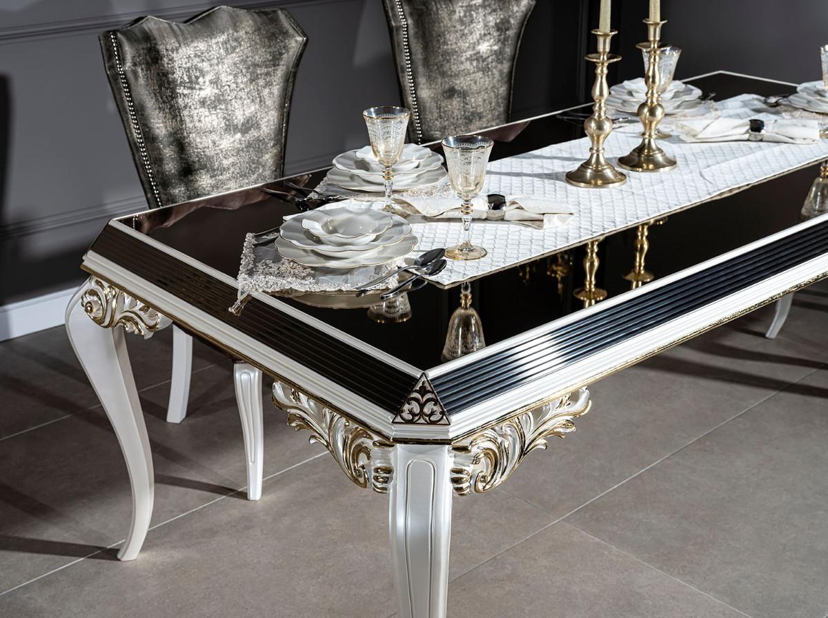Casa Padrino Tavolo Da Pranzo Barocco Di Lusso Bianco Oro Nero 207 X 104 X A