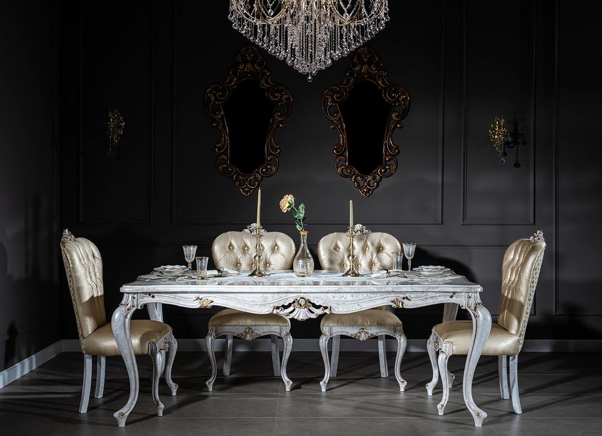 Casa Padrino Tavolo Da Pranzo Barocco Di Lusso Bianco Antico Oro 201 X 102 X A 80 Cm Tavolo Da Cucina In Legno Massello Mobili Da Pranzo In Stile Barocco Casa Padrino De