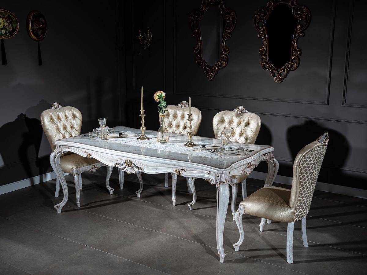 Casa Padrino Luxus Barock Esszimmer Stuhl Set Gold Antik Weiss Gold 57 X 65 X H 113 Cm Kuchen Stuhle 6er Set Barock Esszimmer Mobel Edel Prunkvoll Barockgrosshandel De