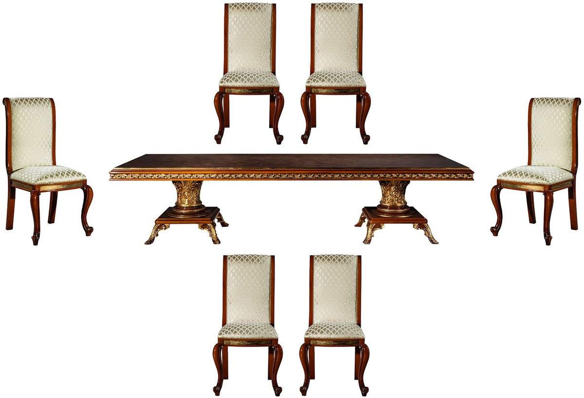 Casa Padrino Luxury Baroque Dining Room Set Brown Gold 1 Dining Table 6 Dining Chairs Noble Dining Room Furniture In Baroque Style