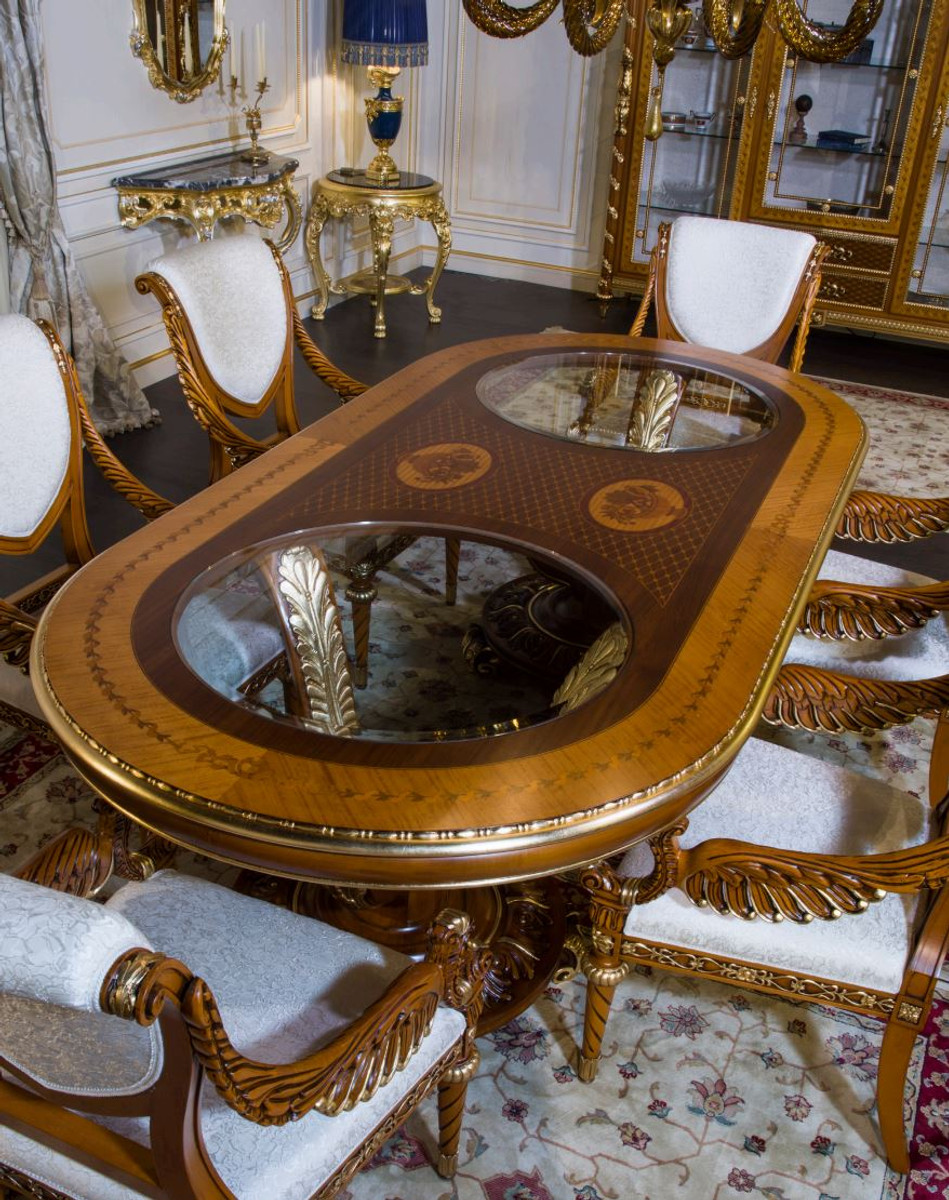 Casa Padrino Luxury Baroque Dining Table Light Brown Brown Gold Different Sizes Magnificent Solid Wood Dining Room Table Hotel Restaurant Castle Furniture Luxury Quality Made In Italy
