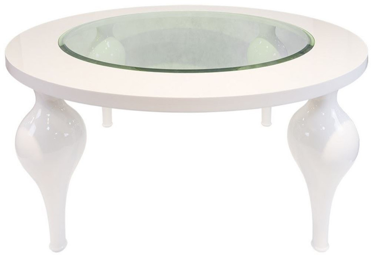 Casa Padrino Neoclassical Coffee Table High Gloss White O 110 X H 40 Cm Solid Wood Kitchen Table With Glass Top Living Room Furniture In Neoclassical Style