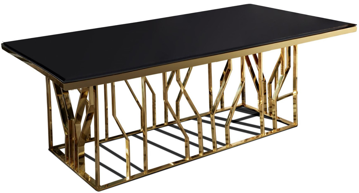 Casa Padrino Luxury Dining Table Gold Black 200 X 100 X H 77 Cm Rectangular Stainless Steel Kitchen Table With Glass Top Luxury Dining Room Furniture