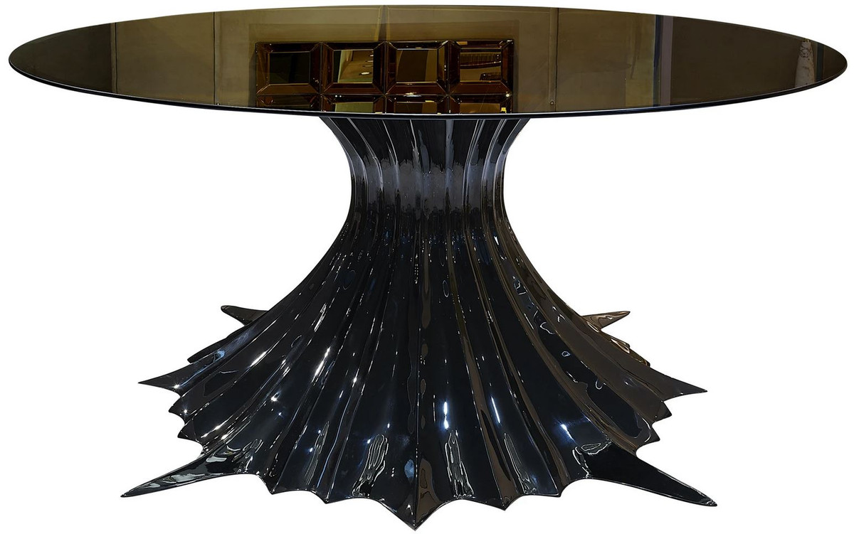 Casa Padrino Luxury Designer Dining Table High Gloss Black Black O 180 X H 78 Cm Handmade Dining Room Table With Round Glass Top Luxury Dining Room Furniture Luxury Quality