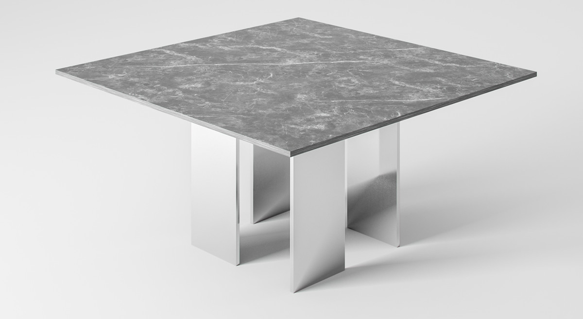 Casa Padrino Luxury Dining Table Gray Silver 150 X 150 X H 75 Cm Square Dining Room Table With Marble Top Dining Room Furniture Luxury Collection