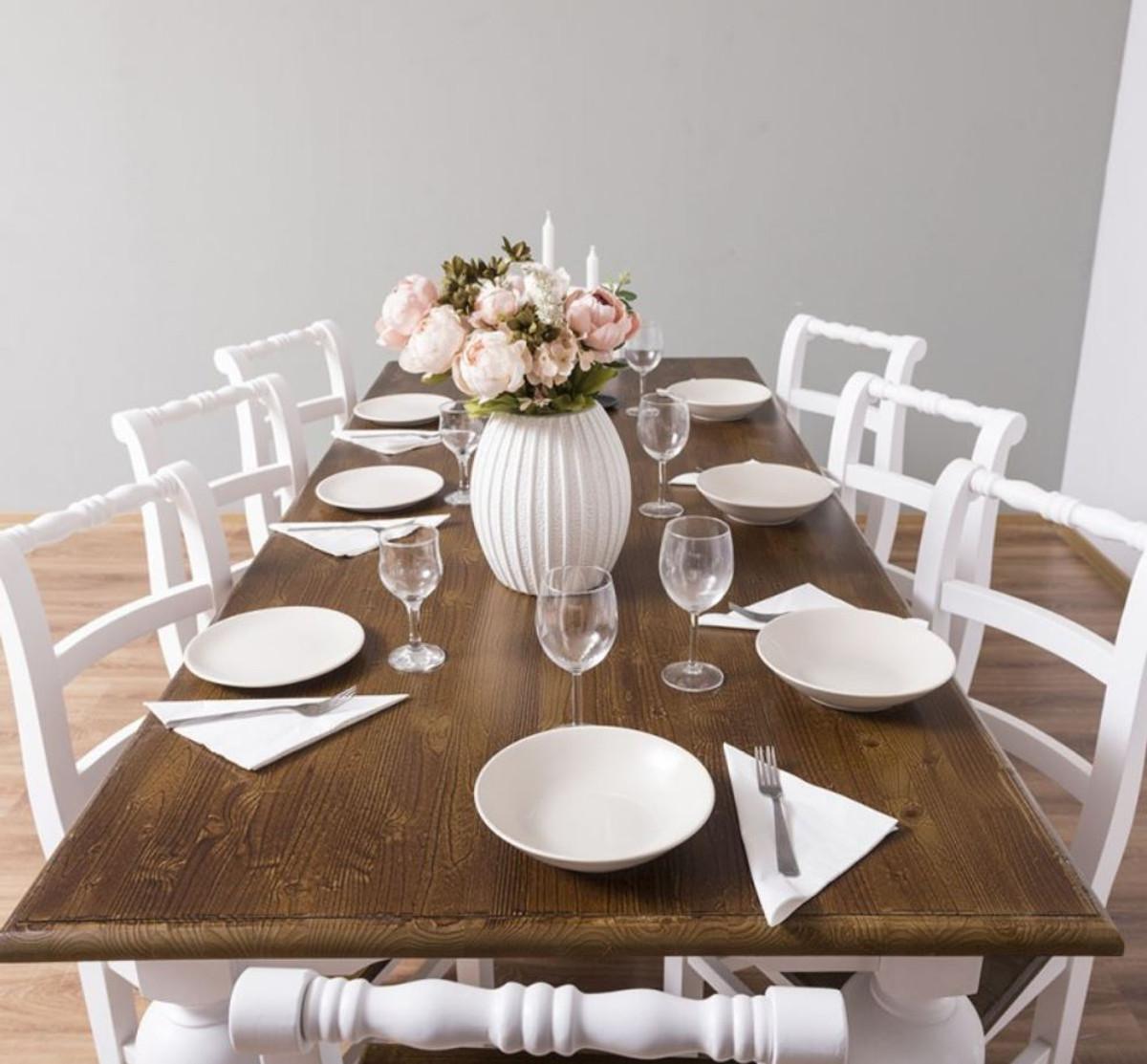 Casa Padrino Set Di Mobili Per Sala Da Pranzo In Stile Country Marrone Bianco 1 Tavolo Da Pranzo E 8 Sedie Per Sala Da Pranzo Mobili In Stile Country Casa Padrino De