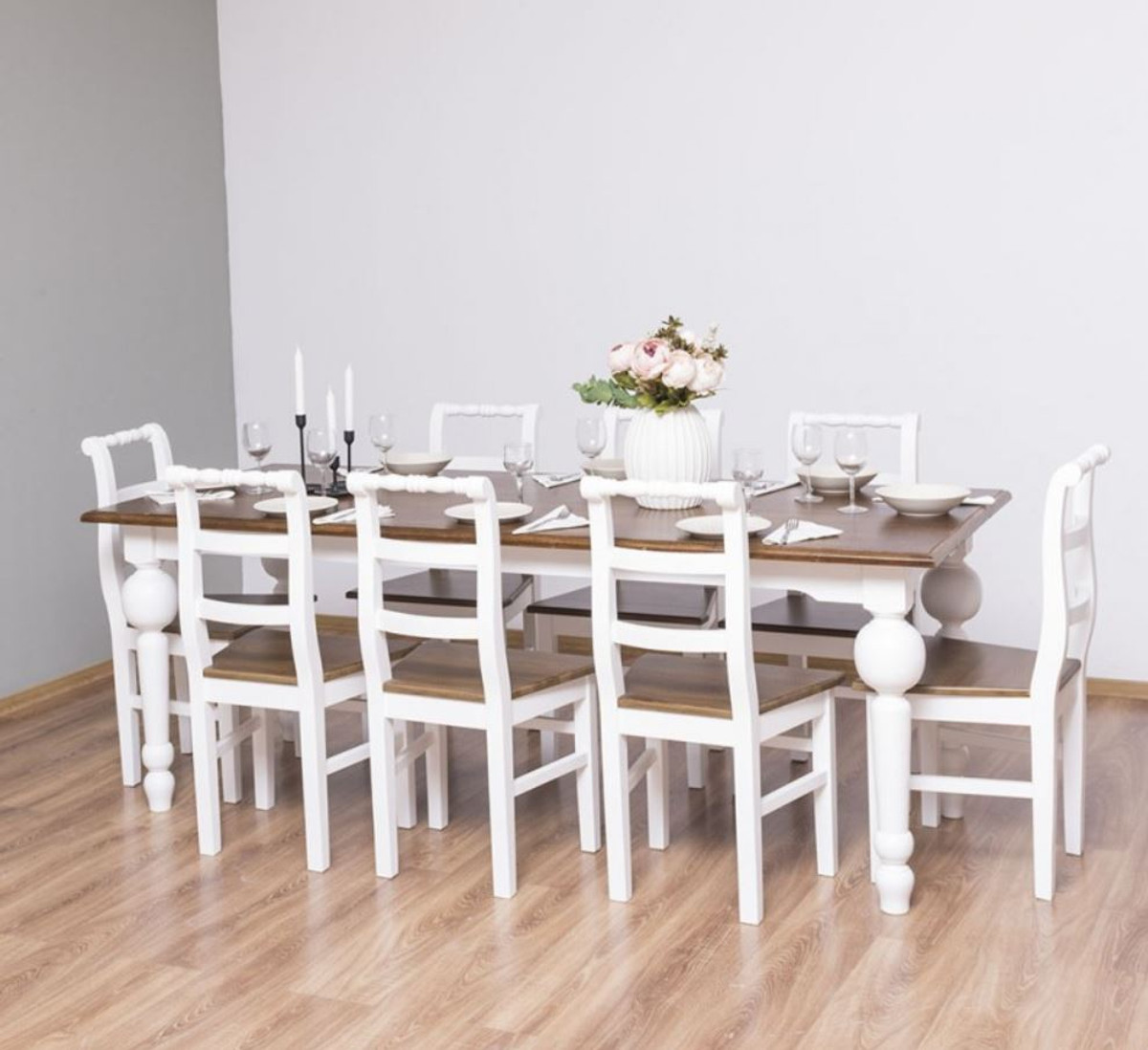 Casa Padrino Country Style Dining Room Furniture Set Brown White 1 Dining Table 8 Dining Chairs Solid Wood Dining Room Furniture Country Style Furniture