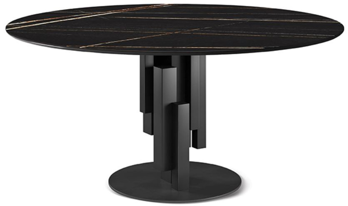 Casa Padrino Luxury Dining Table Black O 158 X H 75 Cm Modern Round Dining Room Table With Ceramic Top Dining Room Furniture Luxury Quality Made In Italy