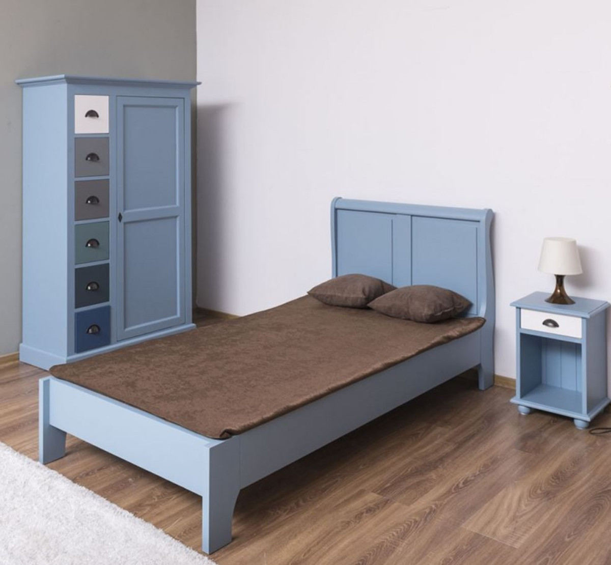 Casa Padrino Country Style Solid Wood Children S Room Furniture Set Light Blue White Multicolor 1 Single Bed 1 Wardrobe 1 Bedside Table Country Style Furniture