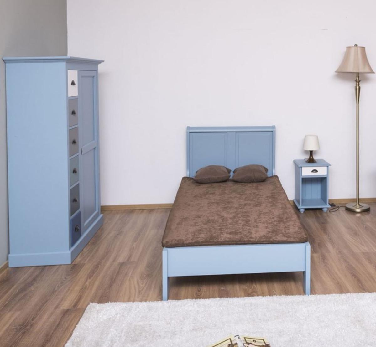 Casa Padrino Landhausstil Massivholz Kinderzimmer Mobel Set Hellblau Weiss Mehrfarbig 1 Einzelbett 1 Kleiderschrank 1 Nachttisch Landhausstil Mobel