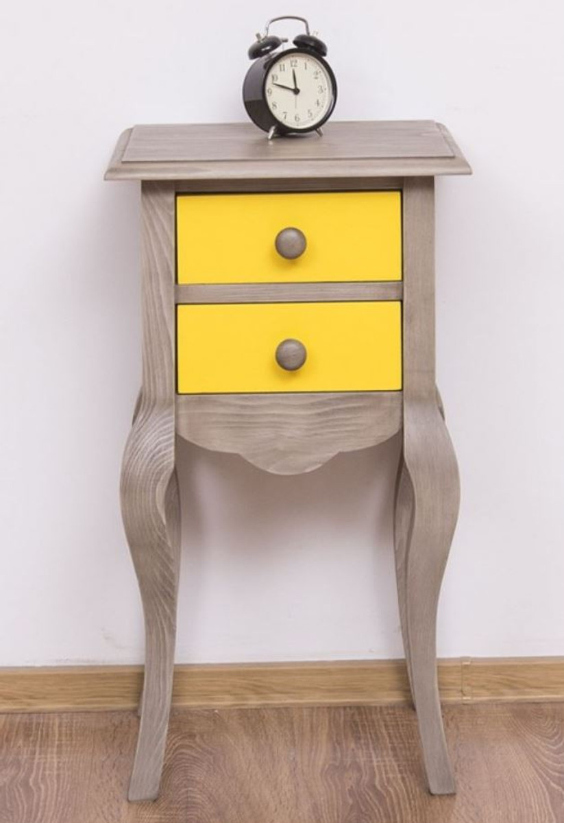 Picture of: Casa Padrino Country Style Side Table Light Gray Yellow 40 X 34 X H 70 Cm Solid Wood Bedside Table Small Bedroom Dresser With 2 Drawers Country Style Furniture