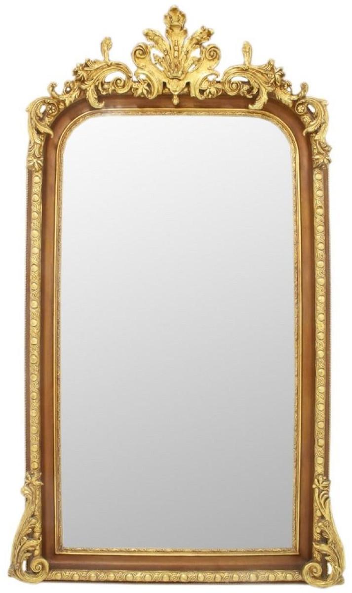 Casa Padrino Barock Spiegel Braun / Gold 7 x H. 7 cm - Prunkvoller  Wandspiegel im Barockstil - Antik Stil Garderoben Spiegel - Wohnzimmer  Spiegel -