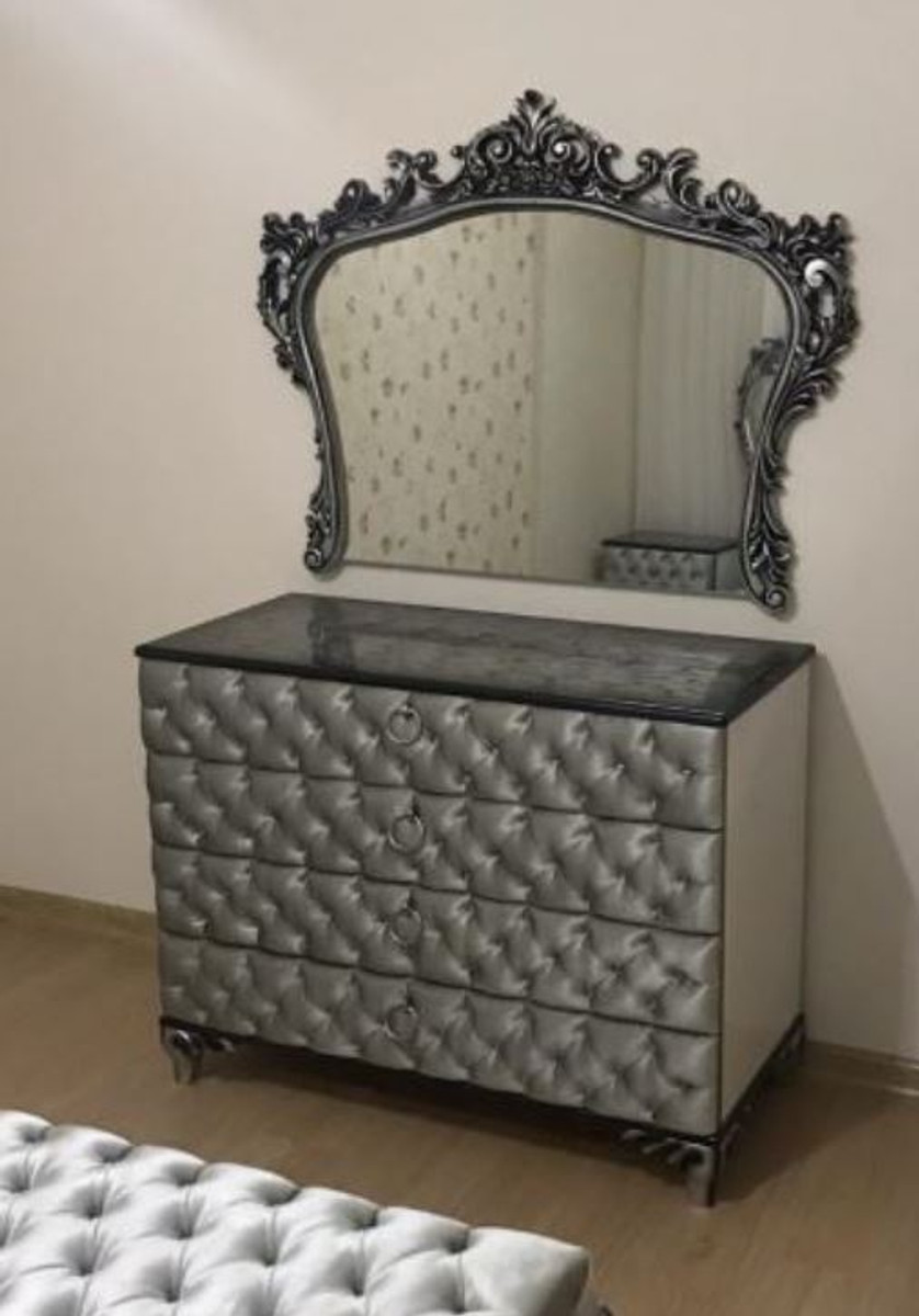 Casa Padrino Baroque Bedroom Chest Of Drawers With Elegant Wall Mirror Silver Solid Wood Cabinet With Mirror Bedroom Furniture In Baroque Style