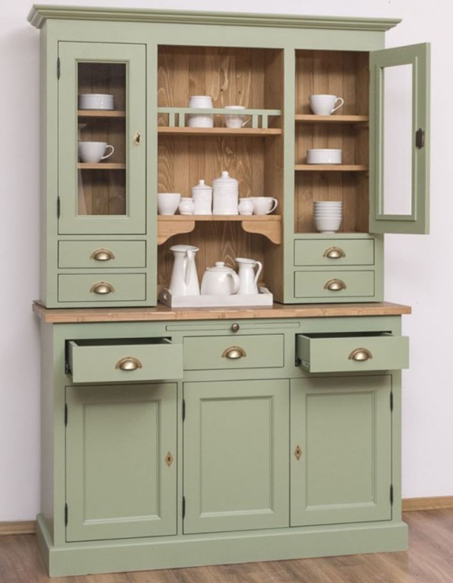 Casa Padrino Country Style Kitchen Cabinet Green Brown 137 X 50 X H 197 Cm 2 Piece Kitchen Cabinet With 5 Doors And 7 Drawers Country Style Kitchen Furniture