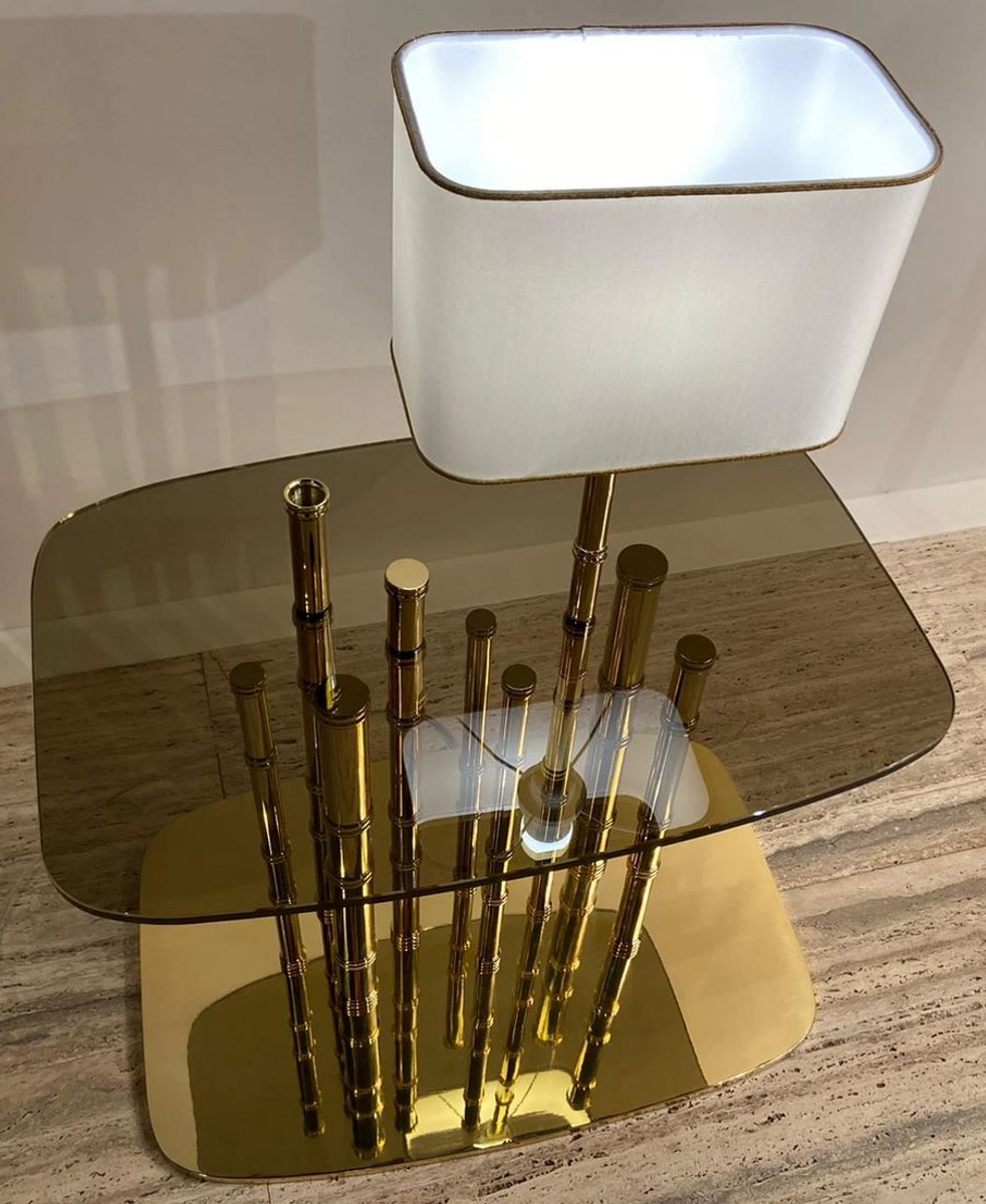 Casa Padrino Luxury Designer Side Table Bamboo Gold Black White 70 X 45 X H 40 Cm Gold Plated Brass Bedside Table With Glass Top And Integrated Table Lamp Hotel Furniture Luxury Quality