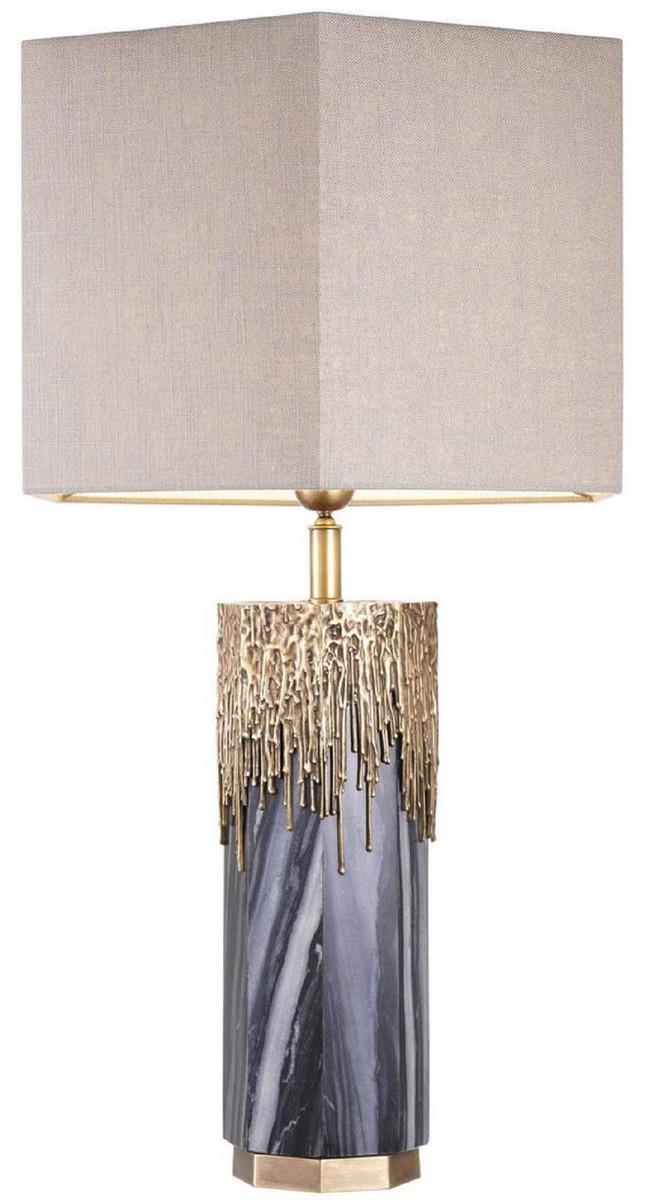 Casa Padrino Luxury Marble Table Lamp Gray Vintage Brass Light Gray 46 X 46 X H 78 Cm Hotel Restaurant Table Lamp Luxury Lights