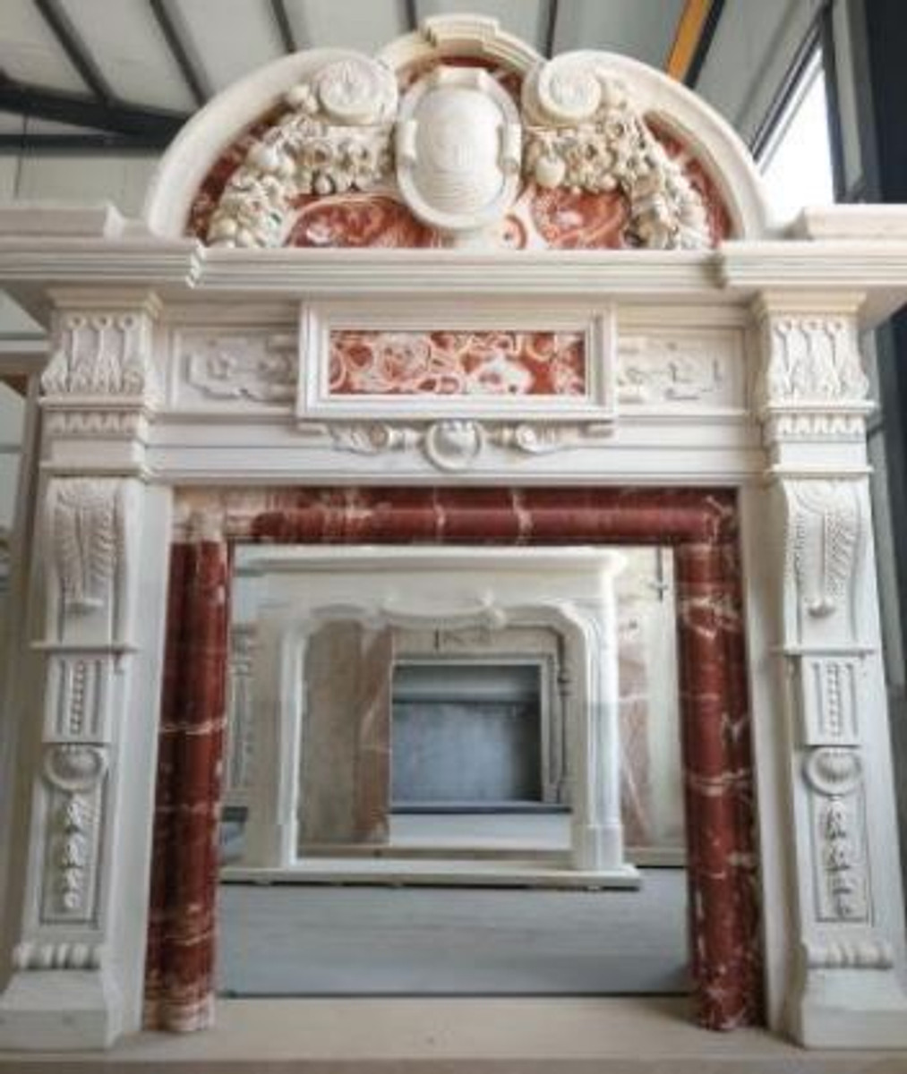 Casa Padrino Luxury Baroque Fireplace Surround White Red 208 X 38 X H 243 Cm Magnificent Fireplace Surround Made Of High Quality Marble Marble Furniture In Baroque Style