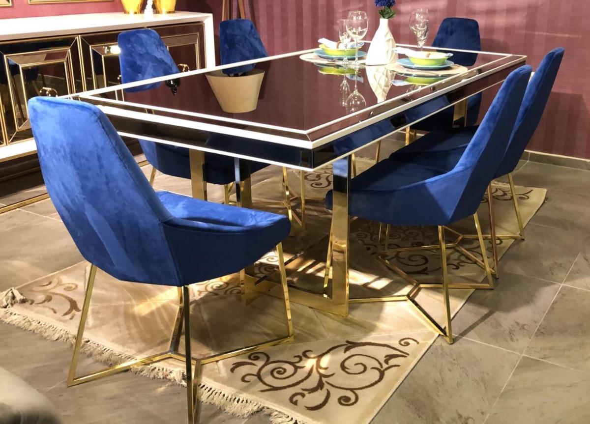 Casa Padrino Set Da Pranzo Di Lusso Blu Bianco Oro 1 Tavolo Da Pranzo E 6 Sedie Da Pranzo Mobili Da Sala Da Pranzo Di Lusso Casa Padrino De