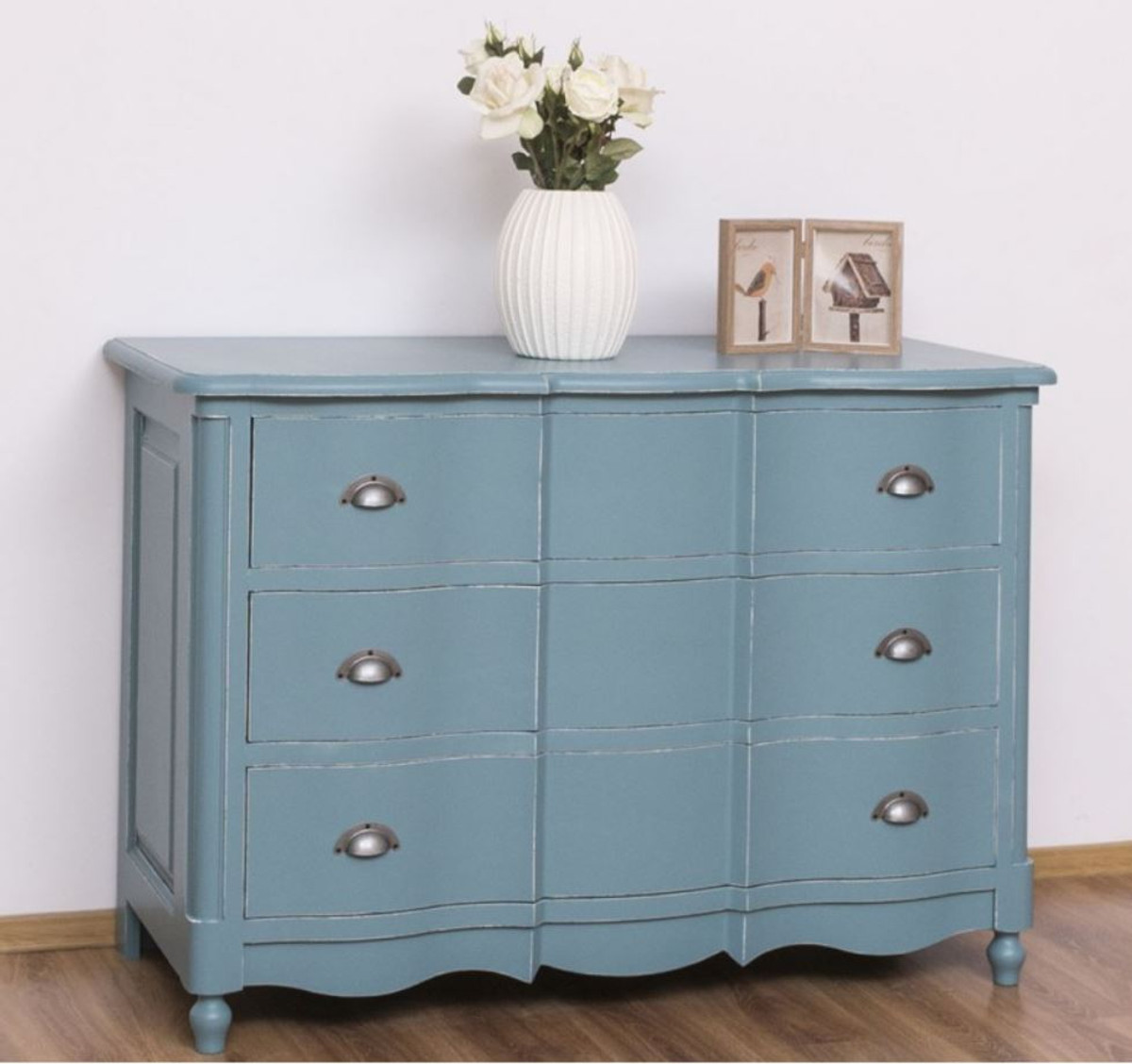Casa Padrino country style chest of drawers antique light blue 20 x 20 x  H. 20 cm   Solid wood cabinet with 20 drawers   Country style furniture