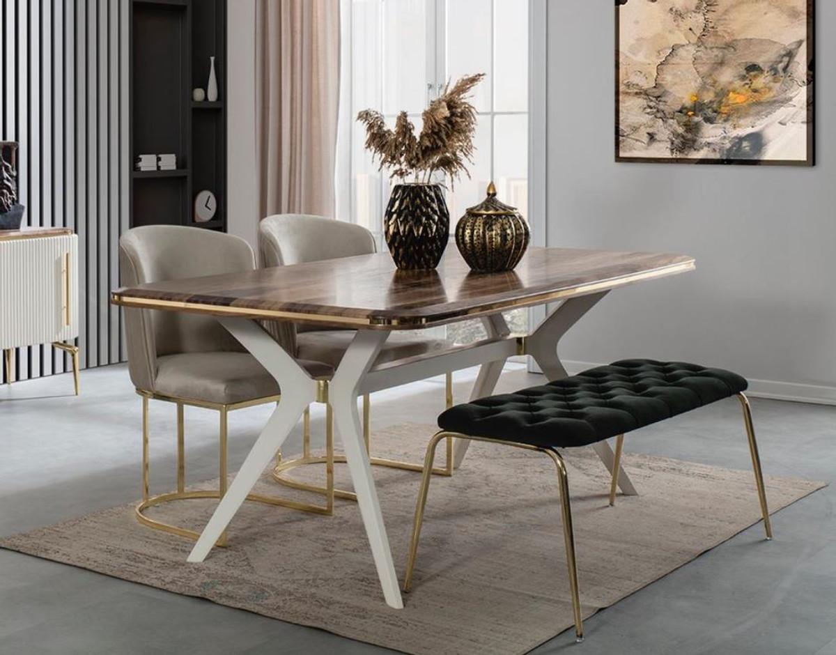 Casa Padrino Luxury Art Deco Dining Room Set 1 Dining Room Table 4 Dining Chairs 1 Bench Art Deco Dining Furniture