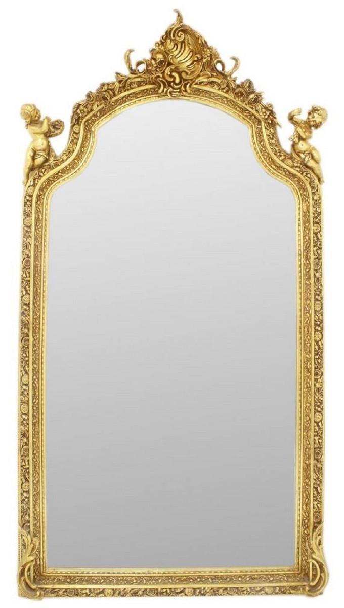 Casa Padrino Barock Spiegel Gold 7 x H. 7 cm - Prunkvoller Wandspiegel  im Barockstil - Antik Stil Garderoben Spiegel - Wohnzimmer Spiegel - Barock
