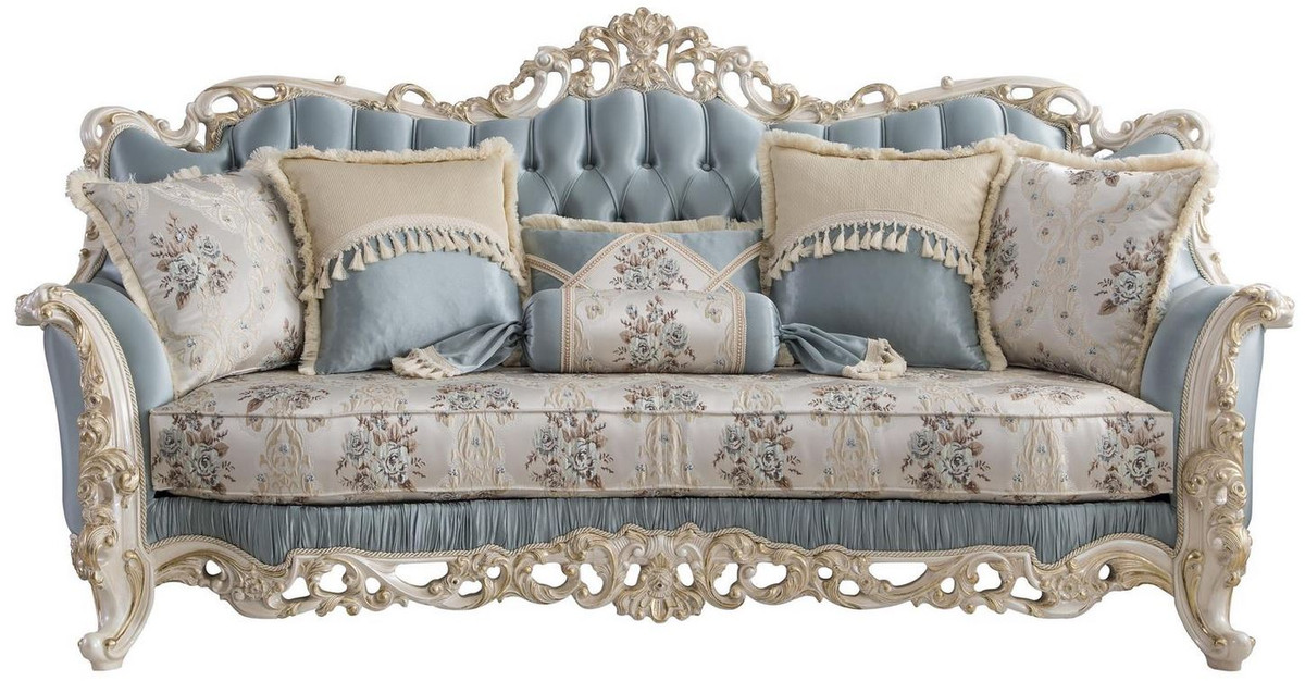 Casa Padrino Luxury Baroque Living Room Sofa With Decorative Pillows Light Blue Cream White Gold 240 X 90 X H 120 Cm Noble Baroque Living Room Furniture