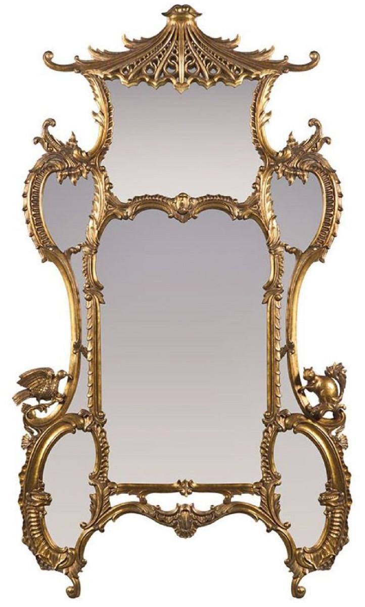 Casa Padrino Luxus Barock Spiegel Antik Gold 7 x 7 x H. 7 cm -  Prunkvoller handgeschnitzter Wandspiegel im Barockstil - Antik Stil  Garderoben