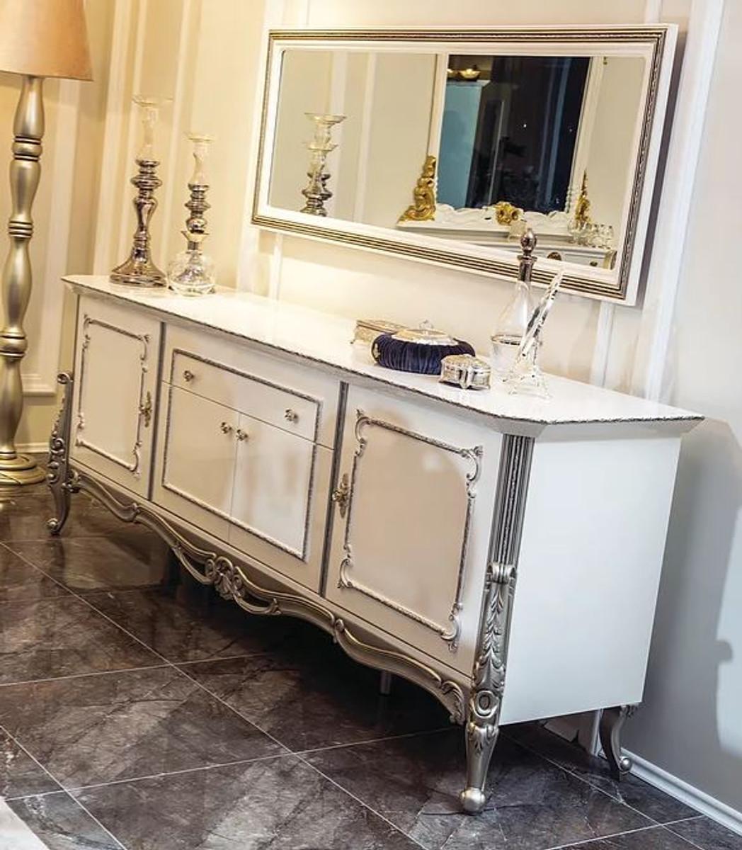 Casa Padrino Set Di Mobili Barocchi Di Lusso Credenza Con Specchio Bianco Argento Armadio In Legno Massello Con Elegante Specchio A Muro Nobile E Magnifico Casa Padrino De