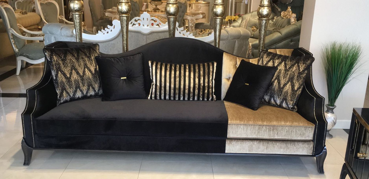 Casa Padrino Luxury Baroque Sofa Black Gold 250 X 90 X H 100 Cm Living Room Sofa In Baroque Style Baroque Furniture Noble Magnificent