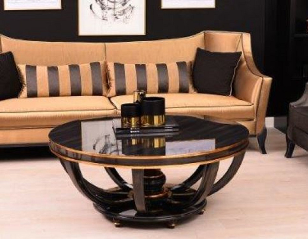 casa padrino luxury baroque coffee table black gold o 107 x h 50 cm round solid wood living room table in baroque style baroque furniture