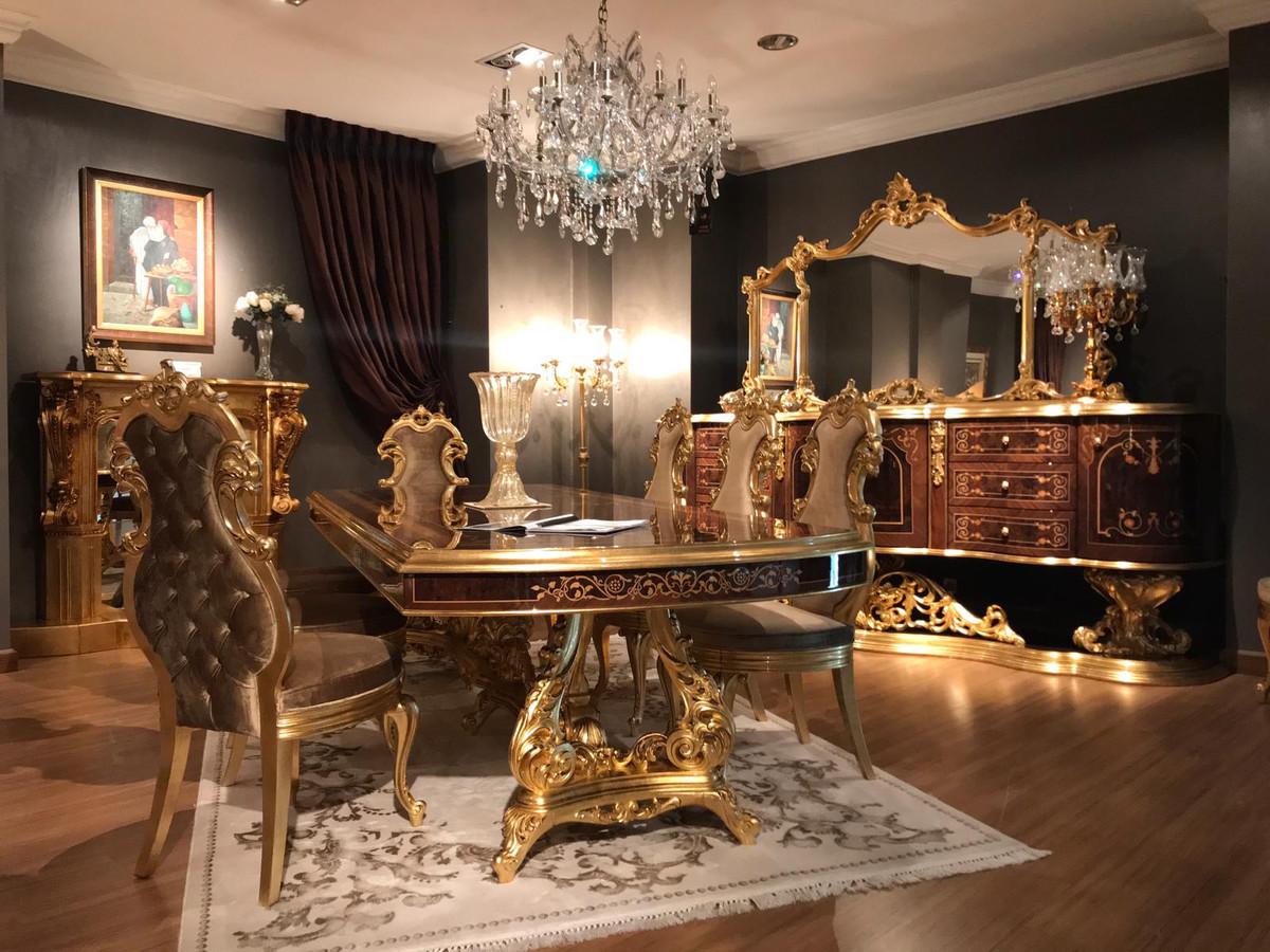 Casa Padrino Set Da Sala Da Pranzo Barocco Di Lusso Marrone Oro Antico 1 Tavolo Da