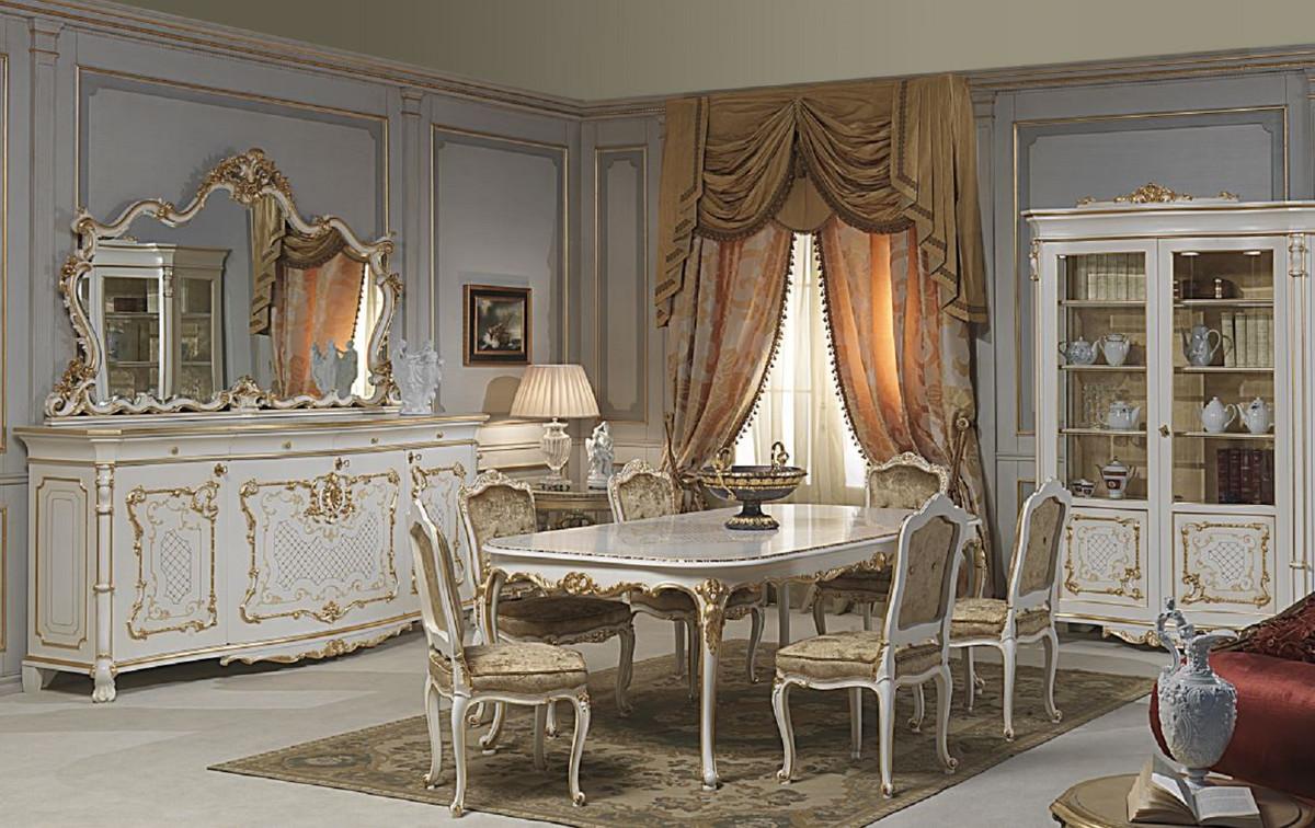 Casa Padrino Set Di Mobili Barocchi Di Lusso Credenza Con Specchio Bianco Oro Nobile Mobile In