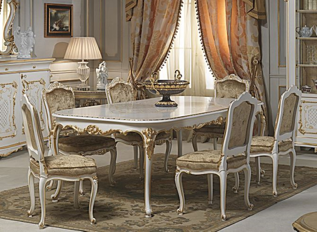 Casa Padrino Luxury Baroque Dining Room Set White Gold 1 Dining Table 6 Dining Chairs Dining Room Furniture In Baroque Style Hotel Restaurant Castle Furniture Luxury Quality Made In Italy