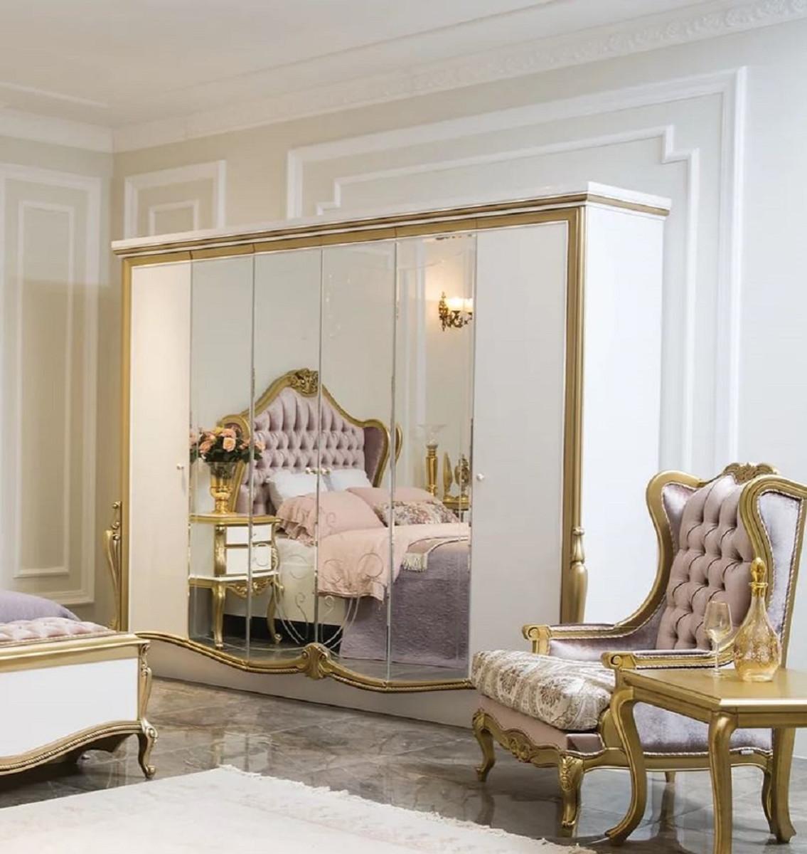 Casa Padrino Luxus Barock Schlafzimmerschrank Weiss Gold 270 X 70 X H 224 Cm Edler Massivholz Kleiderschrank Schlafzimmer Mobel Im Barockstil Luxus Qualitat