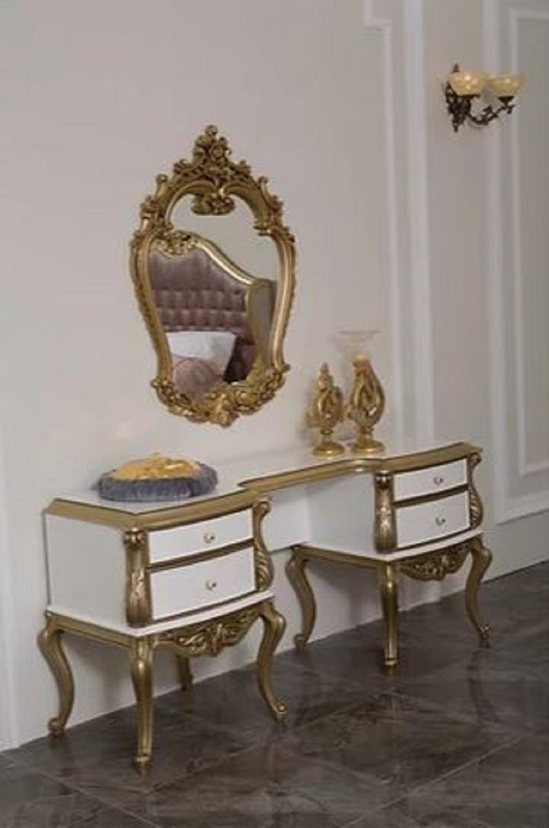 Casa Padrino Cassettone Camera Da Letto Barocco Di Lusso Con Elegante Specchio Da Parete Bianco Oro