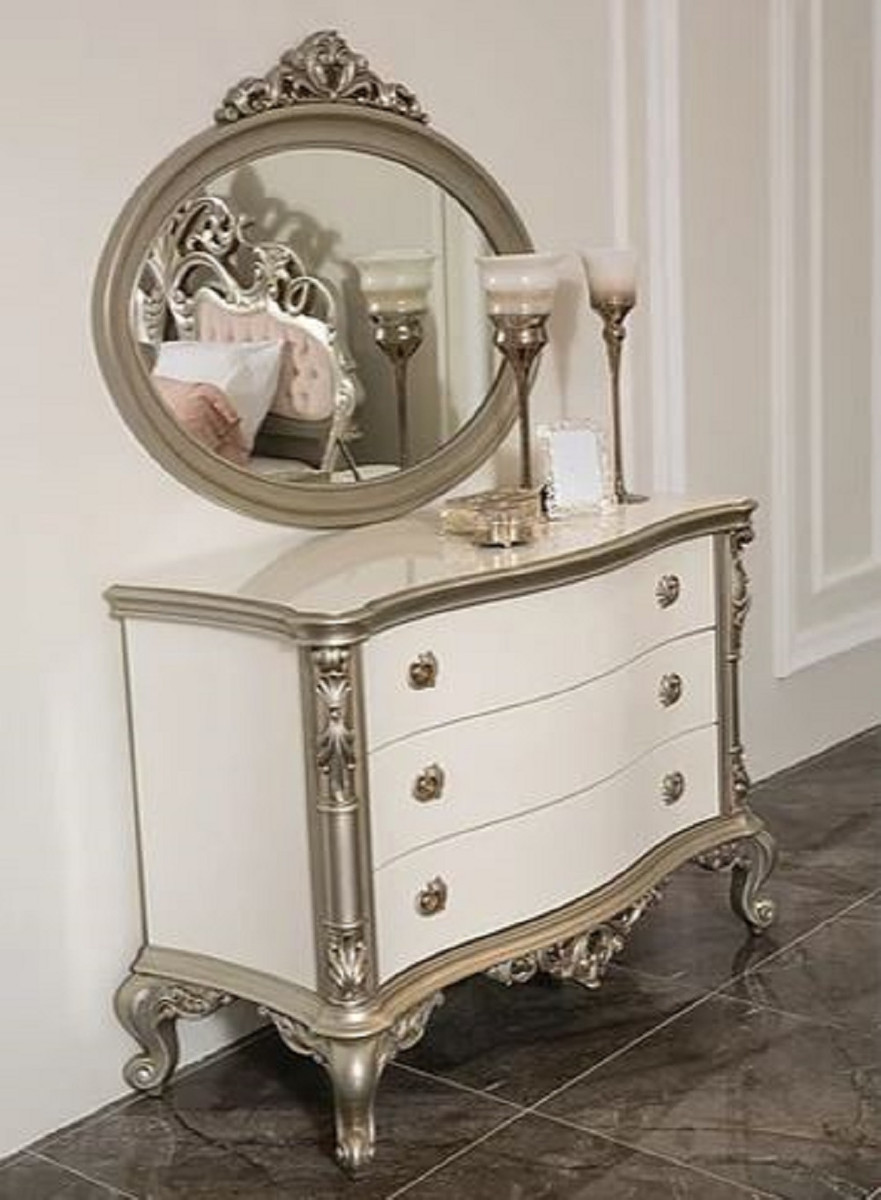Casa Padrino Luxury Baroque Bedroom Chest Of Drawers With Elegant Wall Mirror White Silver Solid Wood Cabinet With Mirror Bedroom Furniture In Baroque Style Noble Magnificent