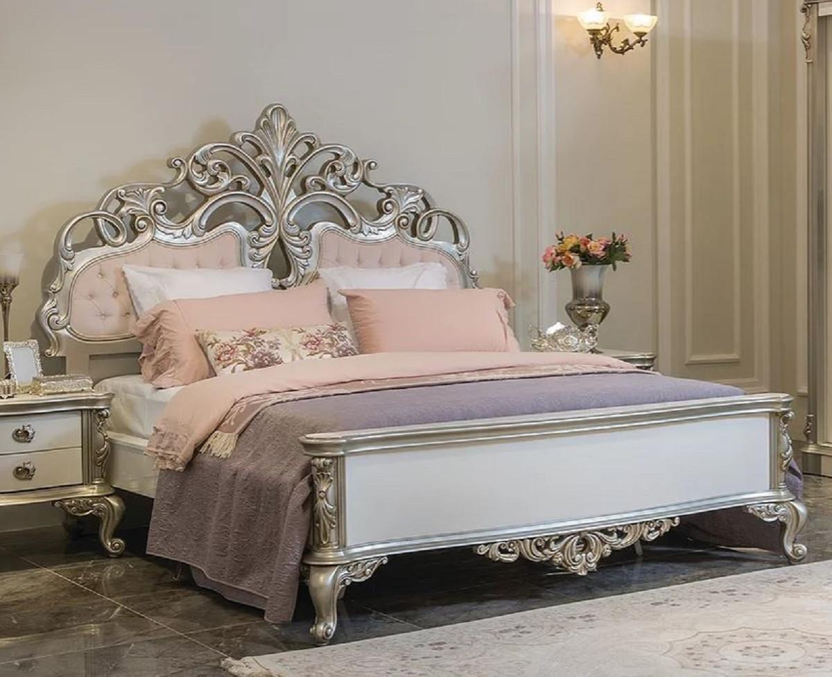Casa Padrino Luxus Barock Doppelbett Rosa Weiss Silber 200 X 228 X H 175 Cm Edles Massivholz Bett Mit Kopfteil Prunkvolle Schlafzimmer Mobel Im Barockstil